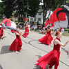 The Band of the Blackwatch flag team (Kenosha, WI) performs during the 67th Swedish Days Parade on June 26 in Geneva.