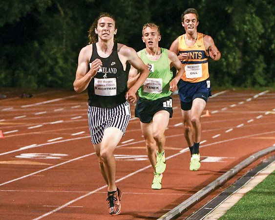 Kaneland junior Matt Richtman finishes with a time of 9:22.98 in the 3200 meter run June 10, during the Midwest Distance Classic at Benedicitine University in Lisle.<br /> David Toney for Shaw Media