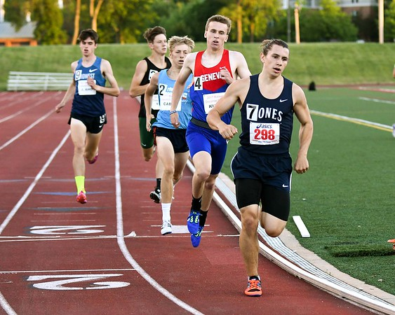 Brian Kuehl (4) a senior at Geneva runs in the 800 meter run June 10, during the Midwest Distance Classic at Benedicitine University in Lisle.<br /> David Toney for Shaw Media