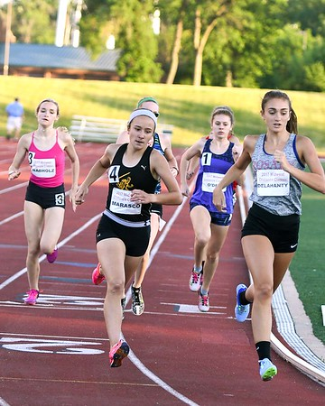 Brooke Delahanty a junior at Rosary, (right) competes in the 800 meter run June 10, during the Midwest Distance Classic at Benedicitine University in Lisle.<br /> David Toney for Shaw Media