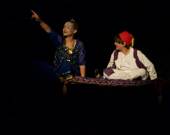 The Genie, played by Lorna Mollsen, and Aladdin, played by Jonah Zimmerman ,go on a magic carpet ride during a performance of Aladdin Junior at the Arcada Theatre in St. Charles June 25.
