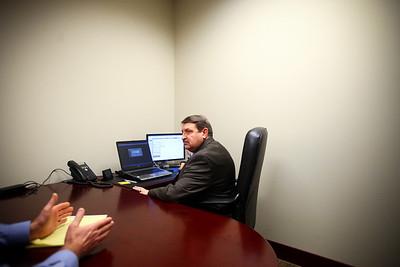 Lauren M. Anderson - landerson@shawmedia.com Joe Glasder of Crystal Lake talks with accountant Kurt Schneider on Wednesday at Exemplar Accounting & Tax Advisors in Crystal Lake.