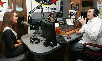H. Rick Bamman -hbamman@shawmedia.com Miss Illinois Hannah Smith (left) discusses her Miss America pageant appearance during the WZSR - Star105.5 morning show with Tina Bree (center) and  Joe Cicero.