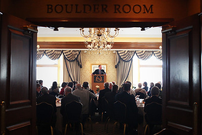 Lauren M. Anderson - landerson@shawmedia.com Economist Brain Wesbury speaks to a group during the 50th Annual Home State Bank Economic Luncheon on Wednesday at Boulder Ridge Country Club in Algonquin.
