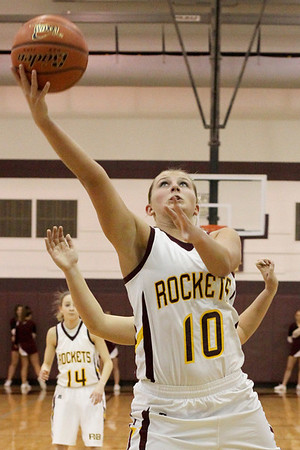 Lauren M. Anderson - landerson@shawmedia.com Richmond-Burton's Alex Callanan (10) makes her shot in the first quarter against Marengo on Tuesday during their Big Northern Conference-East match up. The Rockets defeated the Indians 47-36.