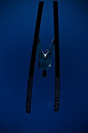 Lance Booth - lbooth@shawmedia.com A skier launches off the ramp from the 107th annual Norge Ski Jump Championship on Sunday, January 29, 2012.
