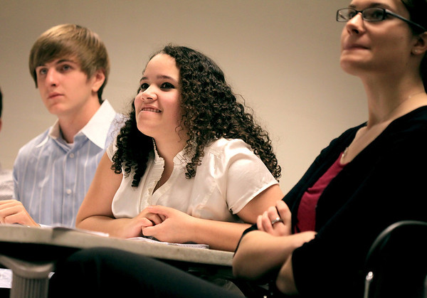 Sandy Bressner - sbressner@shawmedia.com<br /> Geneva High School students Mitchell Endriukaitis, Izzy Marcelo and Megan Malone represent the defense in a mock trial at the school Friday.