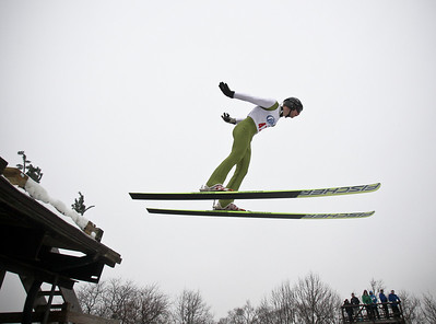 Josh Peckler - Jpeckler@shawmedia.com Andreas Mynre Helleru flies off the ramp while performing his jump during the Norge International Ski Jumping Tournament at the Norge Ski Club in Fox River Grove Sunday, January 27, 2013.