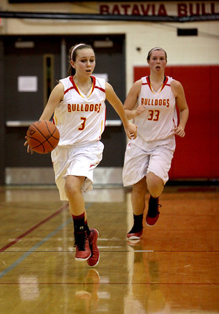 Batavia's Bethany Orman dribbles down court during their home game against Geneva Friday night.