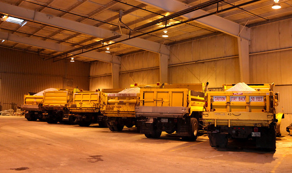 Salt trucks are filled and ready at the Geneva Public Works facility Wednesday afternoon.