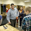 Tony Malay, president of the Batavia Education Association, teaches a shop class to seventh graders at Rotolo Middle School in Batavia Wednesday morning.