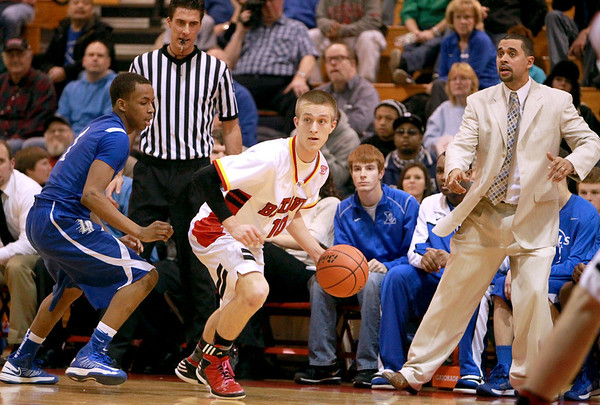 Batavia's Mike Rueffer looks for a teammate to pass to during their home game against Larkin Thursday night.