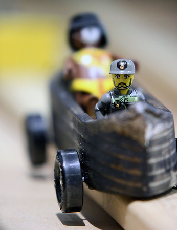 Jeff Krage – For the Kane County Chronicle<br /> Car #24, owned by Samuel Barner, sits in the holding area during Saturday's Pinewood Derby at Congregational Church in St. Charles.<br /> St. Charles 1/26/13