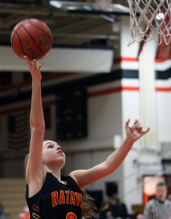 Jeff Krage – For the Kane County Chronicle<br /> Batavia's Bethany Orman goes up for a shot during Saturday's game at St. Charles East.<br /> St. Charles 1/26/13
