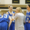 Geneva's head coach Sarah Meadows talks to her team during a timeout against Streamwood at Streamwood HighSchool in Streamwood, IL on Friday, January 25, 2013 (Sean King for The Kane County Chronicle)