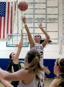 Sarah Nader - snader@shawmedia.com Cary-Grove's Joslyn Nicholson makes shot during the third quarter of Friday's game against Crystal Lake South in Cary on January 18, 2013. Cary-Grove won, 48-36.