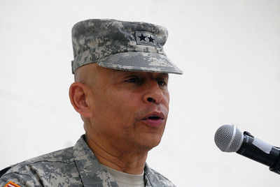Serving as officiating officer, Maj. Gen. Luis Visot gives a speech during a change of command ceremony for the 416th Theater Engineer Command at the Parkhurst Reserve Center in Darien on Saturday, Jan. 5, 2013. Matthew Piechalak— mpiechalak@shawmedia.com.