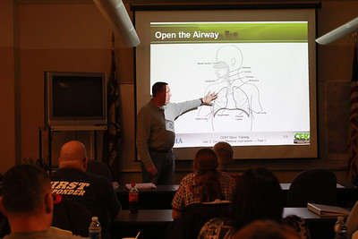 Sarah Minor — sminor@shawmedia.com Lt. Mike Barton of the Villa Park Fire Department speaks to emergency responders about airway obstruction on Thursday, Jan. 24.
