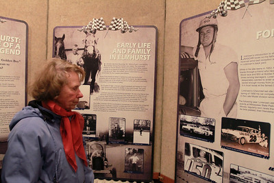 Sarah Minor — sminor@shawmedia.com Vivian Michaelis of Elmhurst looks at Elmhurst Historical Museum's exhibit on Fred Lorenzen a NASCAR driver and Elmhurst native on Thursday, Jan. 31.
