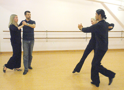 On Saturday, Jan. 12, 2013, Elizabeth and Eric Ott (left), of Geneva, rehearse in the State Street Dance Studio for the Dancing with Geneva Stars event, coached by Michael and AuBrey Saelee. Bill Ackerman — backerman@shawmedia.com