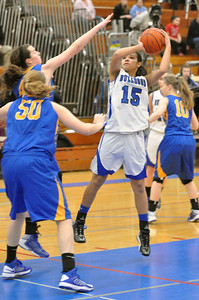 Riverside Brookfield's Brittney JnoBaptiste pulls up and shoots from the paint in the Bulldogs home game against Lyons Township on Friday, Jan. 18, 2013. Bill Ackerman — backerman@shawmedia.com