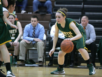 Monica Maschak - mmaschak@shawmedia.com Stephanie Oros goes face-to-face with a Jacobs defender in Wednesday night's game. Crystal Lake South won 43-25.