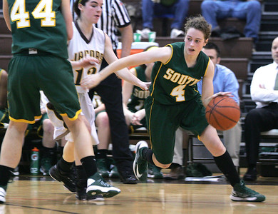 Monica Maschak - mmaschak@shawmedia.com Crystal Lake South's Carina Madoni looks for a path to the hoop in a game at Jacobs High School on Wednesday, January 9, 2013. Jacobs lost to Crystal Lake South 43-25.
