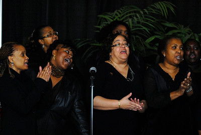 Members of the DuPage AME Church Choir sing prior to the introduction of the keynote speaker during the 18th annual Rev. Dr. Martin Luther King Jr. Breakfast at Benedictine University in Lisle on Monday, Jan. 21, 2013. Matthew Piechalak— mpiechalak@shawmedia.com.