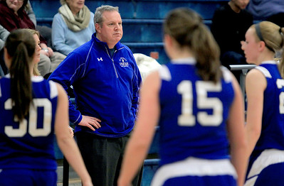 Sarah Nader - snader@shawmedia.com St. Francis's head girls basketball coach Mike Phillips watches Monday's game against Marian Central in Woodstock on January 14, 2013. Marian Central lost, 45-54.