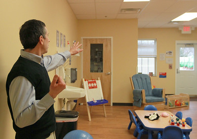 Michael Petrucelli points out amenities of the new Goddard School in Darien on Saturday, Jan. 12. Sarah Minor — sminor@shawmedia.com