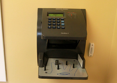 A hand scanner is part of the security system at the new Goddard School in Darien. Sarah Minor — sminor@shawmedia.com