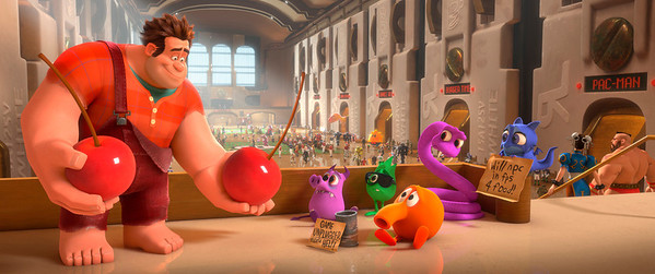 """FILE - This film image released by Disney shows Ralph, left, voiced by John C. Reilly in a scene from """"Wreck-It Ralph.""""  The film was nominated for an Academy Award for best animated picture on Thursday, Jan. 10, 2013.  The 85th Academy Awards will air live on Sunday, Feb. 24, 2013 on ABC.  (AP Photo/Disney, File)"""
