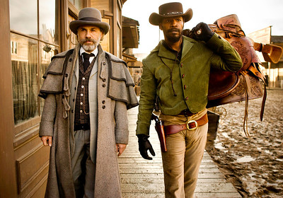 """This undated publicity image released by The Weinstein Company shows, from left, Christoph Waltz as Schultz and Jamie Foxx as Django in the film """"Django Unchained,"""" directed by Quentin Tarantino. Waltz was nominated  for an Academy Award for best supporting actor on Thursday, Jan. 10, 2013, for his role in the film. The film was also nomined for best film. The 85th Academy Awards will air live on Sunday, Feb. 24, 2013 on ABC.   (AP Photo/The Weinstein Company, Andrew Cooper, SMPSP)"""