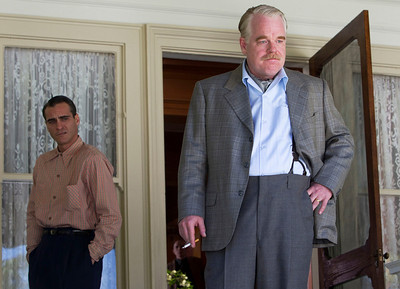 """FILE - This undated file handout film image released by The Weinstein Company shows Joaquin Phoenix, left, and Philip Seymour Hoffman in a scene from """"The Master.""""  Hoffman was nominated  for an Academy Award for best supporting actor on Thursday, Jan. 10, 2013, for his role in the film. Phoenix was nominated for best actor. The 85th Academy Awards will air live on Sunday, Feb. 24, 2013 on ABC.  (AP Photo/The Weinstein Company, File)"""