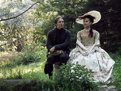 "This film image released by Magnolia Pictures shows Mads Mikkelsen, left, and Alicia Vikander in a scene from ""A Royal Affair."" The film was nominated for an Academy Award for best foreign picture on Thursday, Jan. 10, 2013.  The 85th Academy Awards will air live on Sunday, Feb. 24, 2013 on ABC. (AP Photo/Magnolia Pictures)"