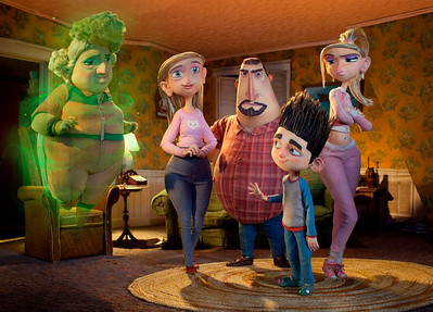"""FILE - This undated publicity file photo of a film image released by Focus Features shows characters, from left, Grandma Babcock, voiced by Elaine Stritch, Sandra Babcock, voiced by Leslie Mann, Perry Babcock, voiced by Jeff Garlin, Norman, voiced by Kodi Smit-McPhee, and Courtney, voiced by Anna Kendrick, in the 3D stop-motion film, """"ParaNorman.""""  The film was nominated for an Academy Award for best animated picture on Thursday, Jan. 10, 2013.  The 85th Academy Awards will air live on Sunday, Feb. 24, 2013 on ABC.  (AP Photo/Focus Features, File)"""