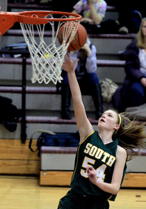 Sarah Nader - snader@shawmedia.com Crystal Lake South's Chanel Fanter makes a shot during the second quarter of Friday's game against Prairie Ridge in Crystal Lake on January 4, 2012. Crystal Lake South won, 38-34.