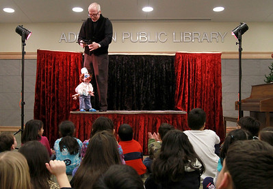 """Dave Herzog's Marionettes perform """"Puppet Soup"""" at Addison Public Library on Wednesday, Jan. 9. Sarah Minor — sminor@shawmedia.com"""