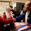 Veterans receive quilts : Veterans living at Transitional Living Services in Hebron received 20 homemade quilts by the Huntley Quilts of Valor group on Thursday, January 10, 2013.