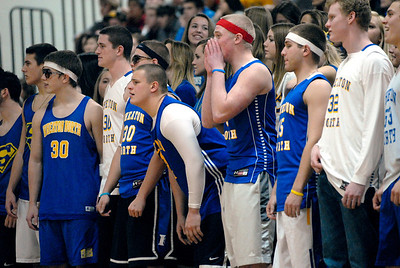 Wheaton North fans get into the action during a varsity boys basketball game against Wheaton Warrenville South on Friday, Jan. 18, 2013. Matthew Piechalak— mpiechalak@shawmedia.com.