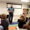 Quentin Coaxum teaches music to kindergartners at Davis Elementary School in St. Charles.(Sandy Bressner photo)
