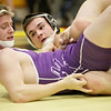 Rochelle's Ben Eggleston (left) is taken to the mat by Kaneland's Dan Goress in a 145-pound match during the Northern Illinois Big 12 Conference Tournament in Sycamore, Ill., Saturday, Jan. 19, 2013. (Rob Winner photo)