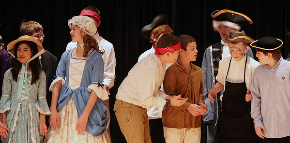 Geneva Middle School North 7th-graders sing about the United States Constitution during Friday's Patriots Day events.<br /> (Jeff Krage photo for the Kane County Chronicle)