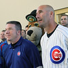 Chicago Cubs manager Dale Sveum stands next to Kane County Cougars general manager Curtis Haug during a photo opportunity Thursday at Fifth Third Bank Ballpark. (Jeff Krage photo for the Kane County Chronicle)