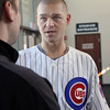 Chicago Cubs' Michael Bowden talks with a reporter Thursday during the Cubs On The Move 2013 Caravan Tour at Fifth Third Bank Ballpark. (Jeff Krage photo for the Kane County Chronicle)