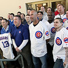 Chicago Cubs players and coaches poses for a group photo Thursday with Cougars front office staff during the Cubs On The Move 2013 Caravan Tour at Fifth Third Bank Ballpark.<br /> (Jeff Krage photo for the Kane County Chronicle)