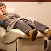 Sean Darlak of St. Charles donates blood at the Heartland Blood Center in Geneva Monday.(Sandy Bressner photo)