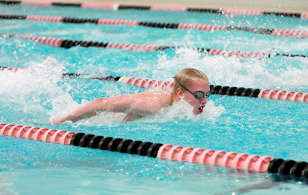 St. Charles East swimmer Will Shanel swims the 100-yard butterfly during their dual meet Thursday against Waubonsie Valley.(Sandy Bressner photo)