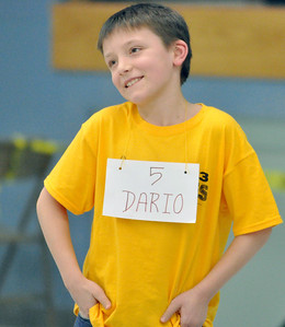 Third grader Dario Strezo reacts when he's eliminated in the West Chicago Elementary School District 33 spelling bee semi-final at West Chicago Middle School on Tuesday, Jan. 22, 2013. Bill Ackerman — backerman@shawmedia.com