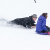 John M. and his Daughter Samantha (Sammy), 13 of Batavia enjoy the afternoon snowfall sledding at The Fabyan Forest Preserve in Geneva, IL on Wednesday, January 01, 2014 (Sean King for Shaw Media)